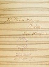 """El pasacalle """"El platillo volador"""" de César Baquero (Fuente: Memoria musical del Ecuador, """"La Luna y los lunáticos: musicología disparatada"""")"""